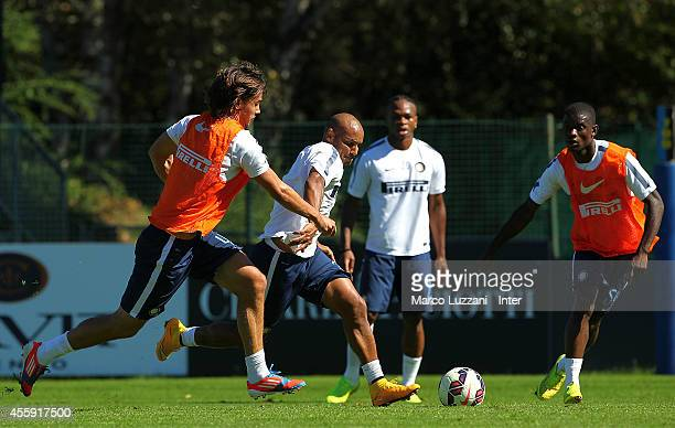 Cicero Moreira Jonathan competes for the ball with Rene Krhin during FC Internazionale training session at the club's training ground on September 22...