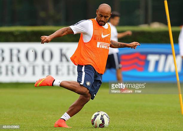 Cicero Moreira Jonathan in action during FC Internazionale training session at the club's training ground on September 3 2014 in Como Italy