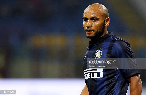 Cicero Moreira Jonathan of FC Internazionale Milano looks on during the Serie A match between FC Internazionale Milano and AS Livorno Calcio at San...