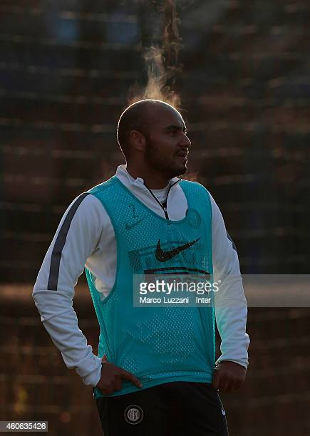 Cicero Moreira Jonathan of FC Internazionale Milano looks on during FC Internazionale training session at the club's training ground on December 18...