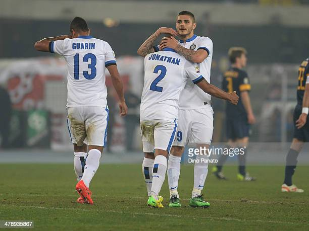 Cicero Moreira Jonathan of Internazionale celebrate with his teamsmate Mauro Icardi after scoring his teams second goal during the Serie A match...