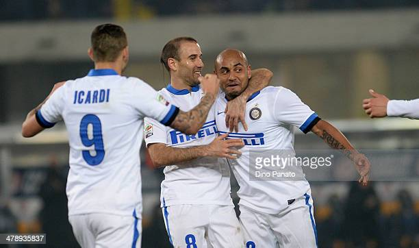 Cicero Moreira Jonathan of Internazionale celebrate with his temmates Rodrigo Palacio and Mauro Icardi after scoring his teams second goal during the...