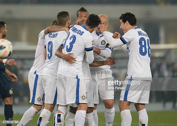 Cicero Moreira Jonathan of Internazionale is mobbed by team mates after scoring his team's second goal during the Serie A match between Hellas Verona...