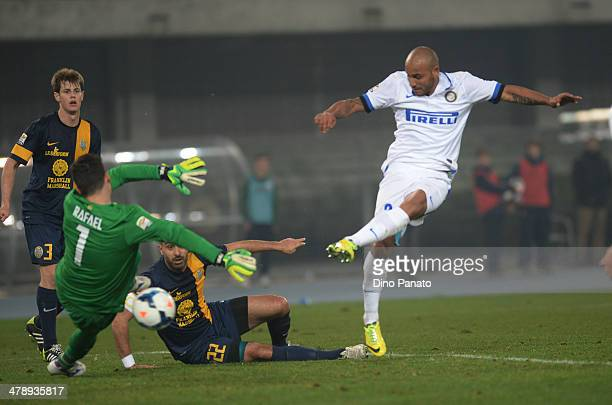 Cicero Moreira Jonathan of Internazionale scores his teams second goal during the Serie A match between Hellas Verona FC and FC Internazionale Milano...