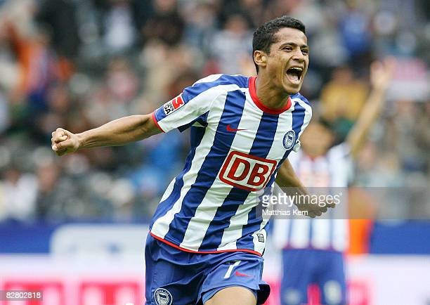 Cicero of Berlin shows his delight after scoring the third goal during the Bundesliga match between Hertha BSC Berlin and VFL Wolfsburg at the...