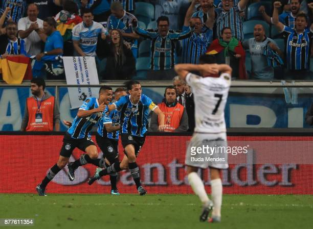 Cicero of Gremio celebrates a scored goal against Lanus during a first leg match between Gremio and Lanus as part of Copa Bridgestone Libertadores...