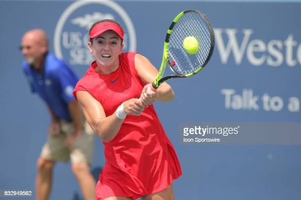 CiCi Bellis hits a backhand during the Western Southern Open at the Lindner Family Tennis Center in Mason Ohio on August 15 2017