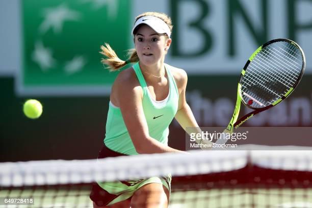 Cici Bellis plays Kirsten Flipkens of Belgium during the BNP Paribas Open at the Indian Wells Tennis Garden on March 8 2017 in Indian Wells California