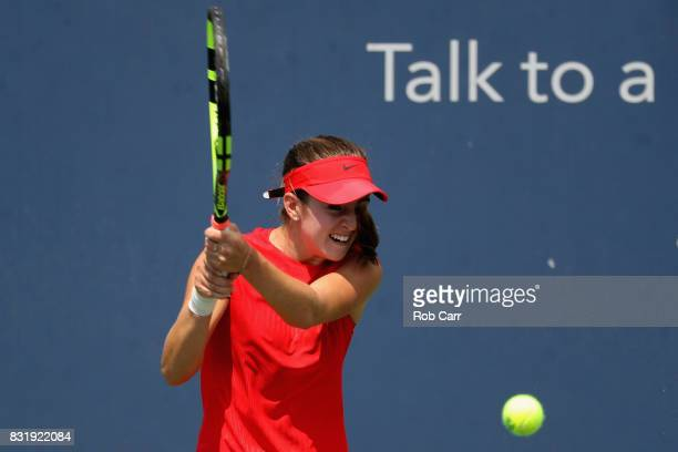 CiCi Bellis returns a shot to Alize Cornet of France during the Western and Southern Open on August 15 2017 in Mason Ohio