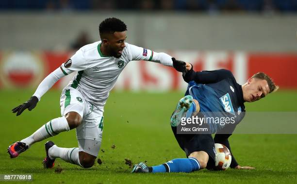 Cicinho of PFC Ludogorets Razgrad tackles Robin Hack of 1899 Hoffenheim during the UEFA Europa League group C match between 1899 Hoffenheim and PFC...