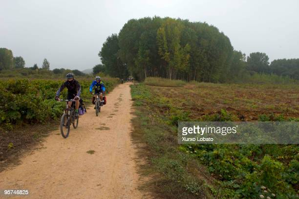 A cicling pilgrim in a Bierzo region in the way of saint James in Castilla and Leon 10th November 2009