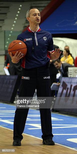 Cicoria referee in action during the ULEB Cup Final 8 game Semifinal 2 between Dynamo Moscow vs Akasvayu Girona at the Palavela on April 12 2008 in...