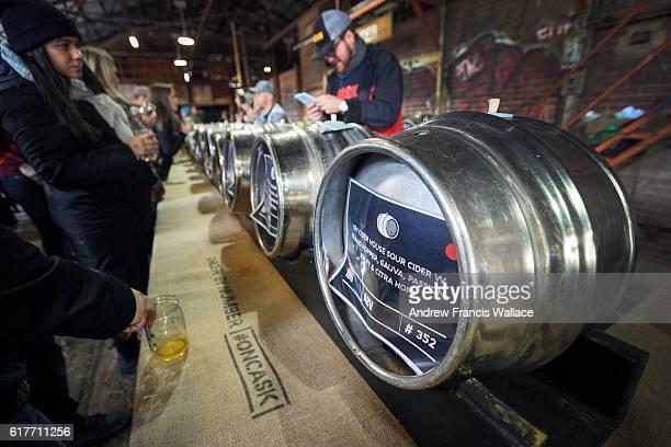 TORONTO ON OCTOBER 22 Cider at Evergreen Brickworks during North America's biggest festival devoted to cask ale October 22 2016