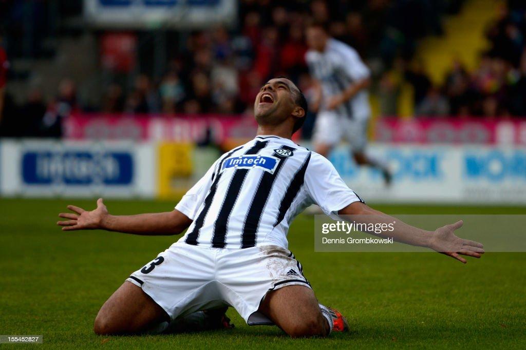 Cidimar da Silva of Aalen celebrates his team's second goal during the Second Bundesliga match between VfR Aalen and 1 FC Koeln at ScholzArena on...