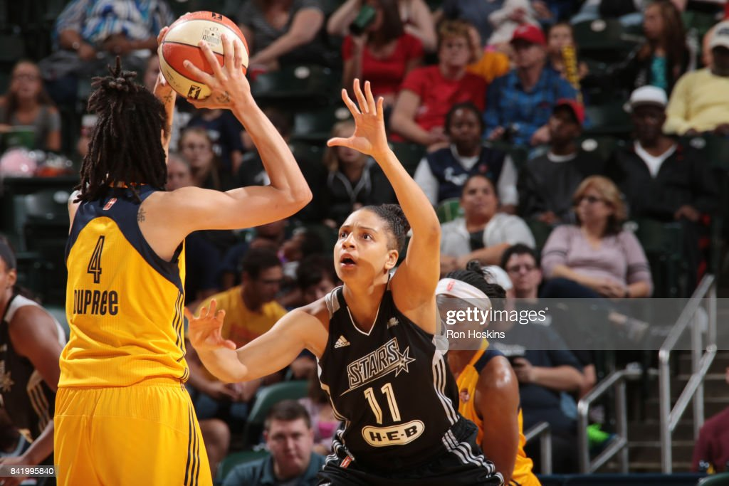 Cierra Burdick #11 of the San Antonio Stars plays defense against the Indiana Fever on September 2, 2017 at Bankers Life Fieldhouse in Indianapolis, Indiana.