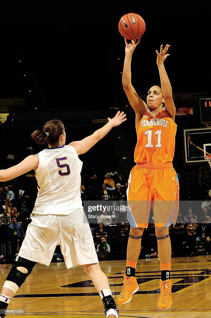Cierra Burdick #11 of the Tennessee Volunteers shoots over Jeanne Kenney #5 of the LSU Tigers during a game at the Pete Maravich Assembly Center on February 7, 2013 in Baton Rouge, Louisiana. Tennesee won the game 64-62.