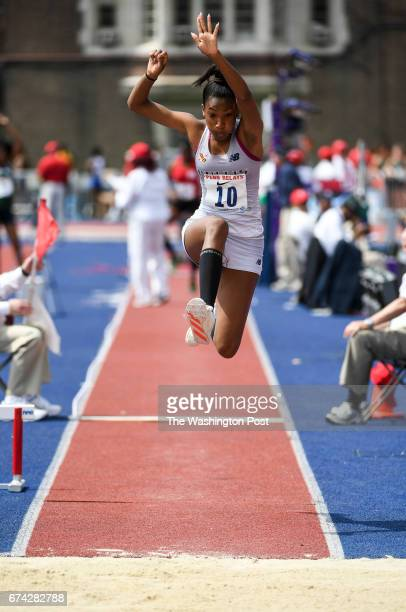Cierra Pyles of the Bullis School competes in the triple jump completion during the 123rd running of the Penn Relays in Philadelphia PA on April 27...