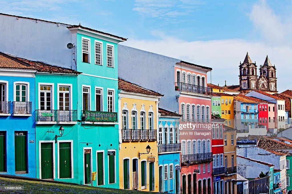 Ciew of painted buildings  ,Salvador Bahia,Brazil