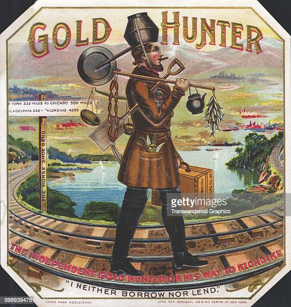 Cigar box label features a scene from the California gold rush New York circa 1880