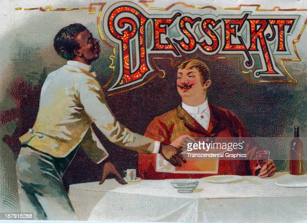 A cigar box label featuring a black waiter serving cigars was published circa 1880 in an unknown location