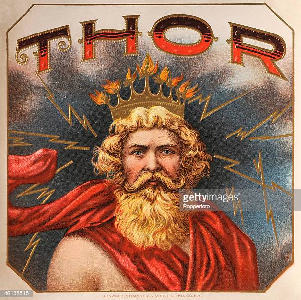 A cigar box label featuring Thor the Norse god of thunder circa 1870