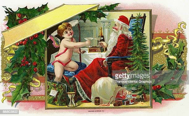 A cigar box label for the Holidays from about 1900 shows Cupid toasting Santa Claus