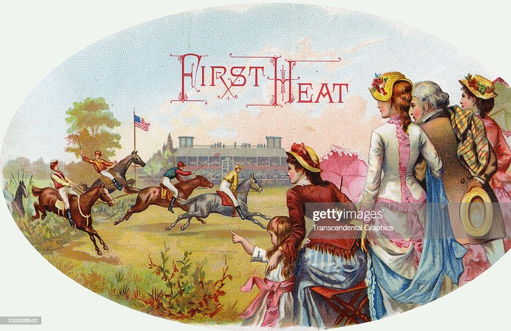 Cigar box label, headlined 'First Heat' features several well dressed women, a man, and a young girl asthey watch a horse race, 1886.