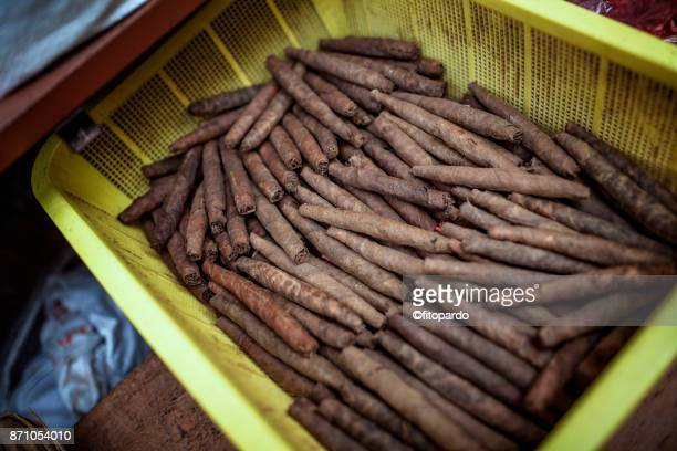 Cigar of tobacco being sold in a popular market