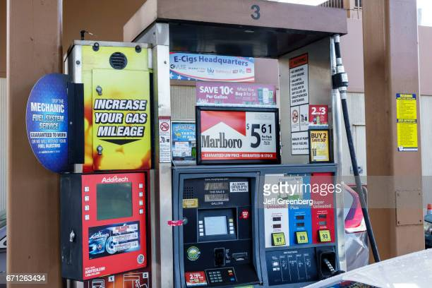 Cigarette advertisments on the petrol pumps at Port Saint Lucie