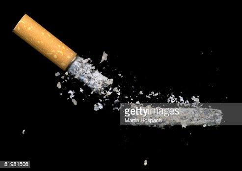 A cigarette butt and ash