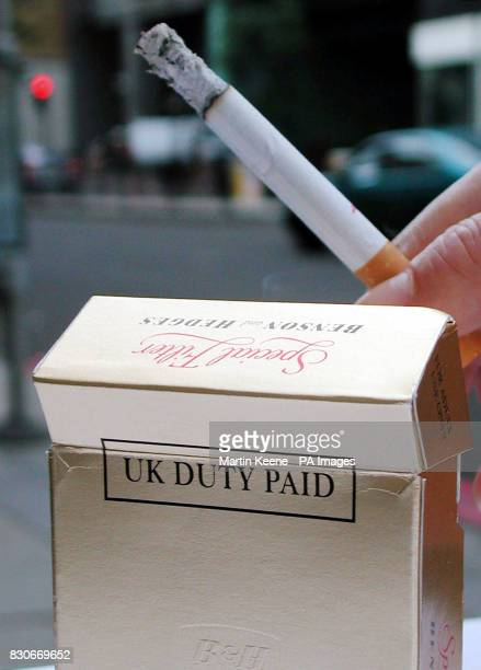 A cigarette packet with the new 'duty paid' mark to prove that packs of cigarettes and rolling tobacco are legitimate that is being unveiled as part...