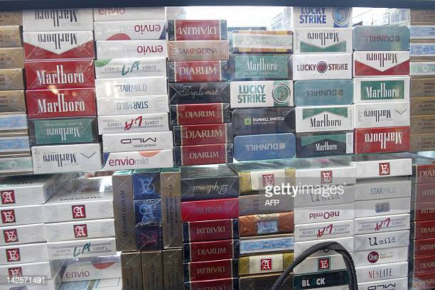 Cigarette products are displayed by a street vendor in Jakarta street on April 7 2012 The World Trade Organization on April 4 threw out Washington's...