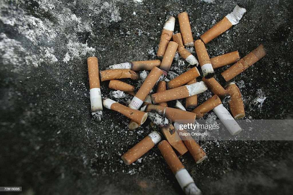 Cigarette stubs are pictured in an ashtray December 13, 2006 in Frankfurt, Germany. Chancellor Angela Merkel is scheduled to meet with German state governors later in the day to discuss a proposed law on banning smoking in bars, restaurants, hospitals and schools.