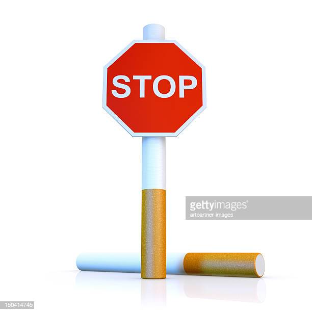 Cigarette with stop sign, on white