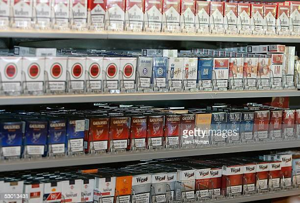 Cigarettes are displayed in a store on June 3 2005 in Munich Germany The Gerrman government is planing another tax increase on tobacco on September 1...