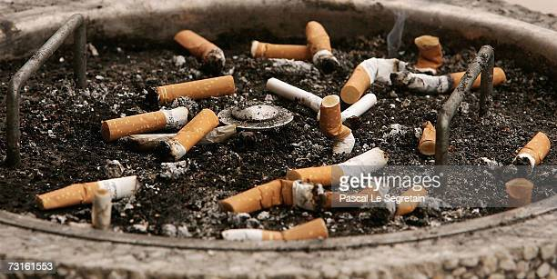 Cigarettes are seen in an ashtray in the Northern railway station on January 31 2007 in Paris France France will introduce a smoking ban in public...