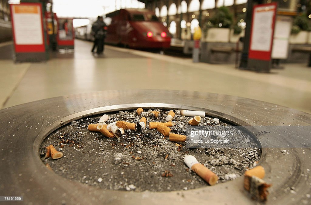 Cigarettes are seen in an ashtray in the Northern railway station on January 31, 2007 in Paris, France. France introduces a smoking ban in public places from February 1, 2007. Bars, restaurants, hotels and night clubs will be follow from January 1, 2008.