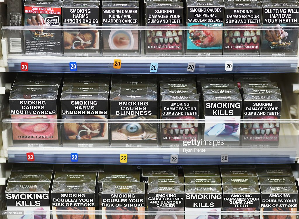 Cigarettes are seen on the shelf on May 04, 2016 in Sydney, New South Wales.The Australian Government yesterday announced in their budget four annual 12.5 per cent increases to tobacco excise and excise equivalent customs duties which will significantly push up the over-the counter price up to AUD$40 by 2020.