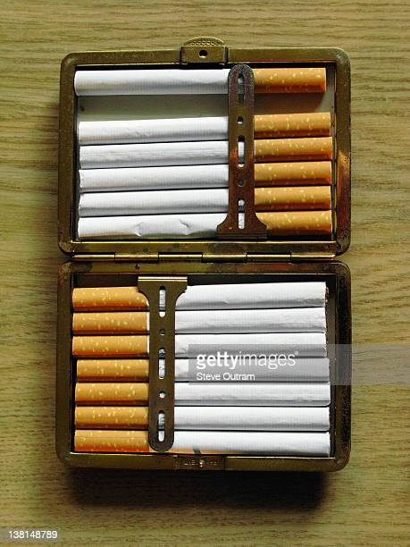 Cigarettes in a metal case