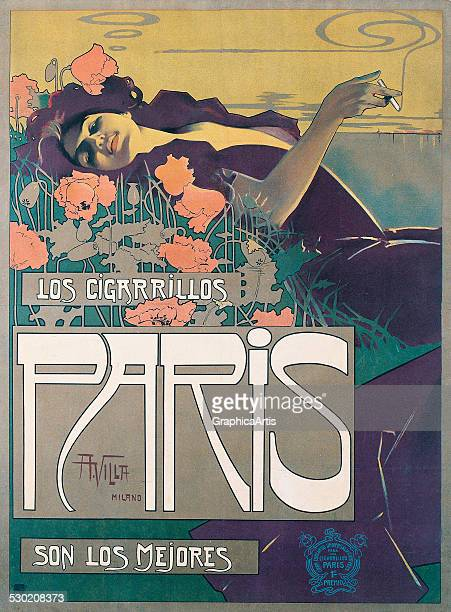 Cigarrillos Paris son los Mejores poster by Aleardo Villa color lithograph 50x 37 in private collection 1901