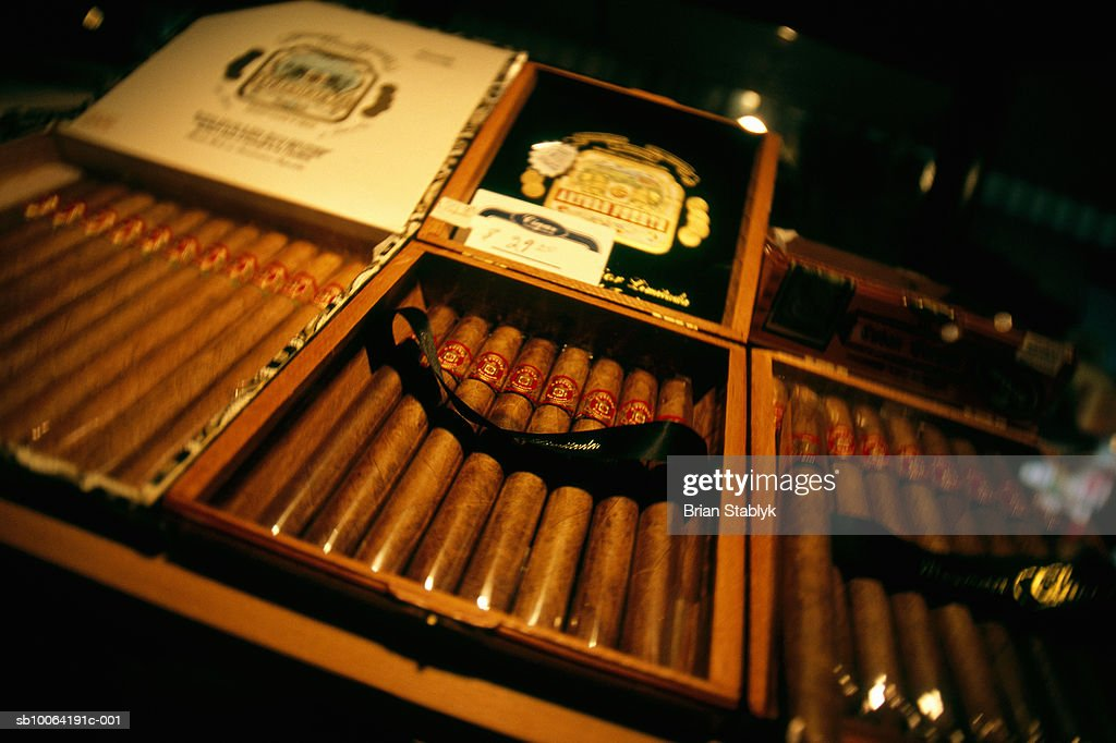 Cigars for sale, close-up : Stock Photo