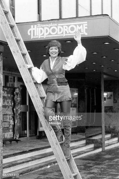 Cilla Black outside the Birmingham Hippodrome theatre where she was performing in the pantomime Jack and the Beanstalk 18th October 1983