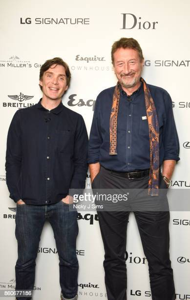 Cillian Murphy and Steven Knight attend an An Evening with Steven Knight and Cillian Murphy from Peaky Blinders at Esquire Townhouse with Dior at...
