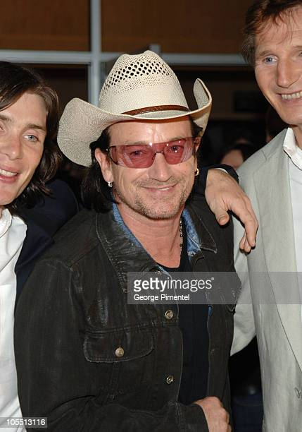Cillian Murphy Bono and Liam Neeson during 2005 Toronto Film Festival 'Breakfast on Pluto' Premiere at Ryerson in Toronto Canada
