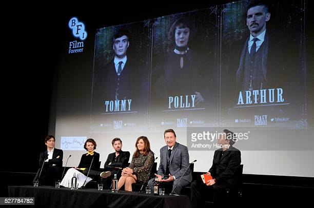 Cillian Murphy Helen McCrory Paul Anderson Caryn Mandabach and Steven Knight during a QA at the Premiere of BBC Two's drama 'Peaky Blinders' episode...