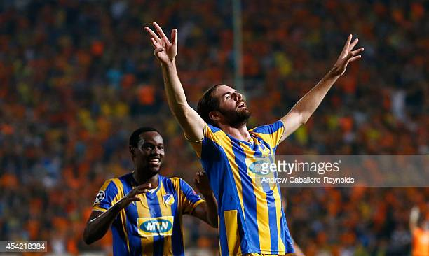 Cillian Sheridan from Apoel Nicosia celebrates a goal with teammate Vinicius during the match between Aalborg BK and Apoel Nicosia in the Second...
