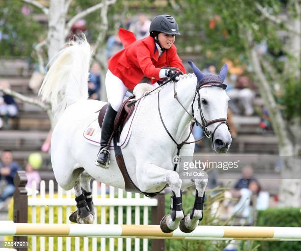 Cim Christo ridden by Georgina Bloomberg during the Bunn Leisure Queen Elizabeth II Cup on July 29 in Hickstead England