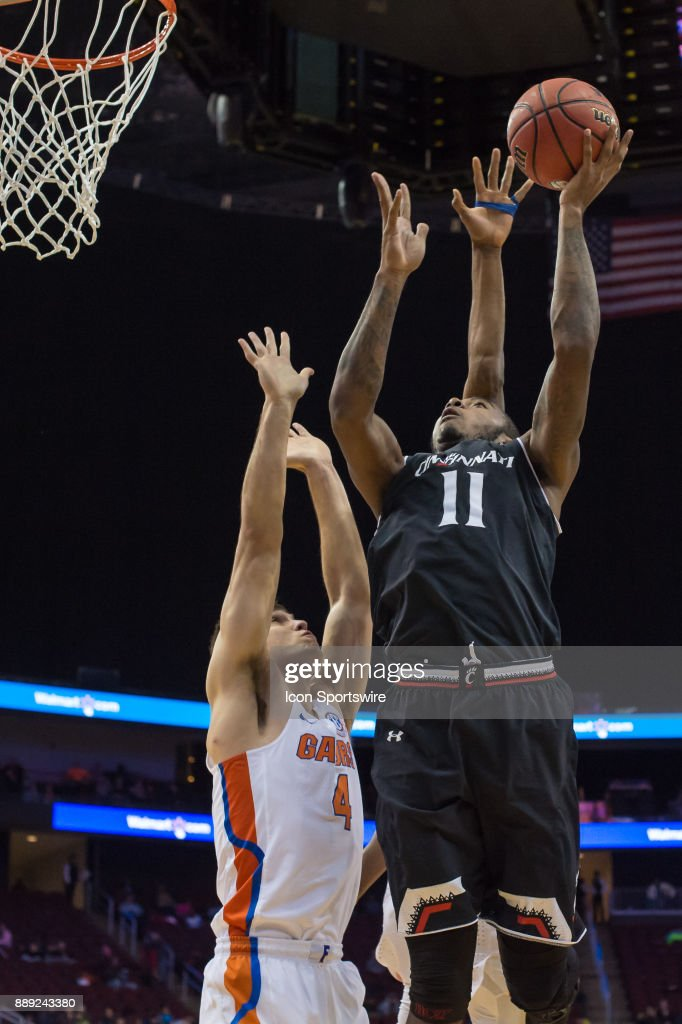 Cincinnati Bearcats forward Gary Clark (11) shoots the ball during the first half of the Never Forget Tribute Classic college basketball game between the Cincinnati Bearcats and the Florida Gators on December 9, 2017, at the Prudential Center in Newark, NJ.