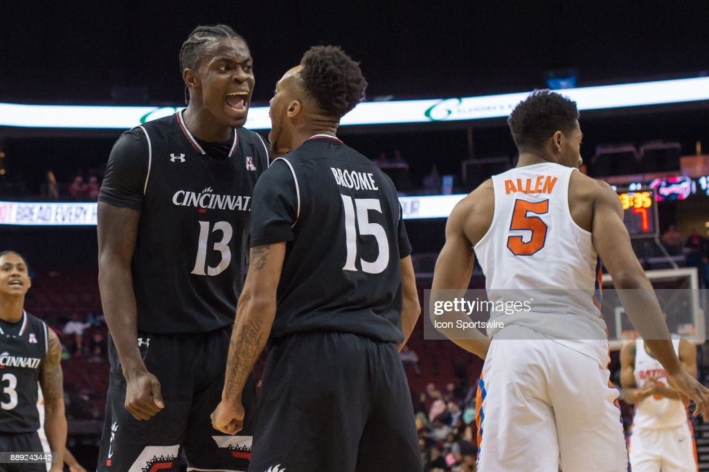 Cincinnati Bearcats forward Tre Scott (13) reacts to a basket during the second half of the Never Forget Tribute Classic college basketball game between the Cincinnati Bearcats and the Florida Gators on December 9, 2017, at the Prudential Center in Newark, NJ.