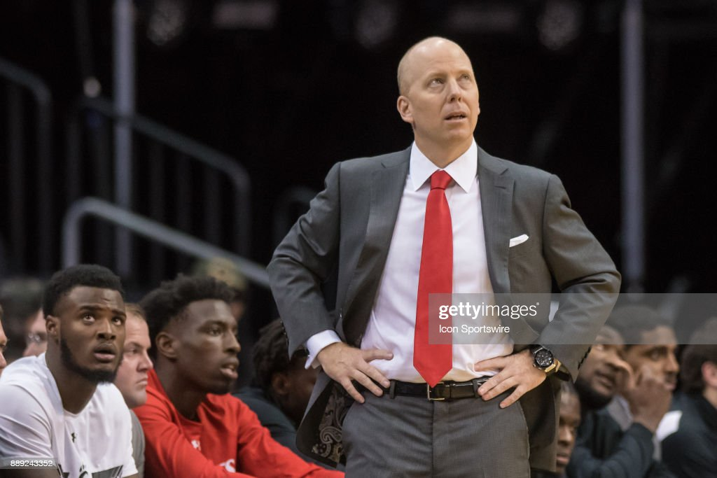 Cincinnati Bearcats head coach Mick Cronin during the first half of the Never Forget Tribute Classic college basketball game between the Cincinnati Bearcats and the Florida Gators on December 9, 2017, at the Prudential Center in Newark, NJ.